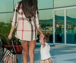 Burberry, baby, and mom image