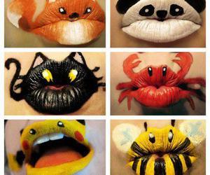 lips, art, and bee image