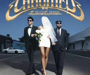 album cover, blue background, and CHROMEO image