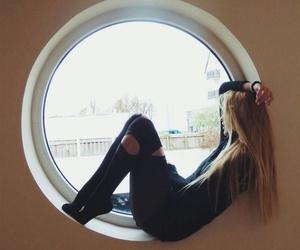 window, girl, and grunge image