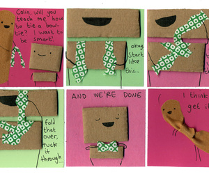 bow tie, cardboard, and comic image