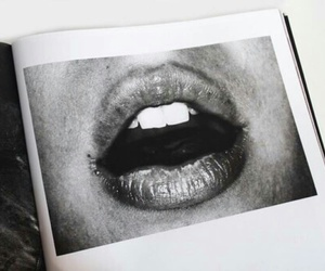 lips, black and white, and mouth image