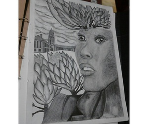 drawing, face, and lips image