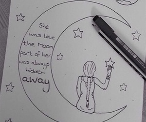 lady, moon, and quote image