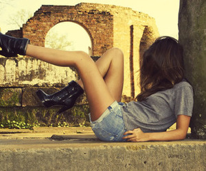 girl, boots, and shoes image