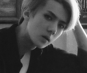exo, sehun, and black and white image