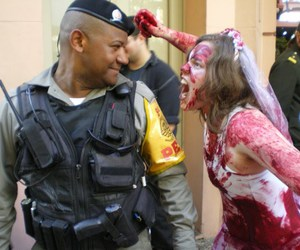 bride, zombie walk, and zombies image