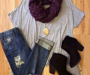 outfit, boots, and jeans image