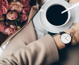 coffee, flowers, and watch image