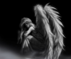 angel, wings, and sad image