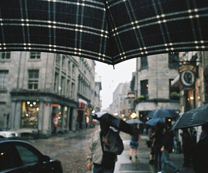 rain, city, and umbrella image