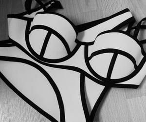 bikinis, black and white, and bra image