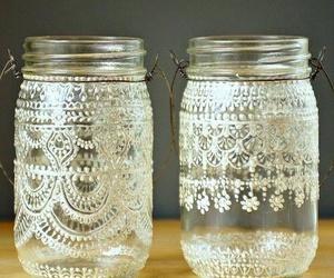 diy, lace, and jar image