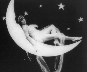 b&w, moon, and vintage image