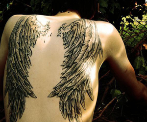 tattoo, wings, and boy image