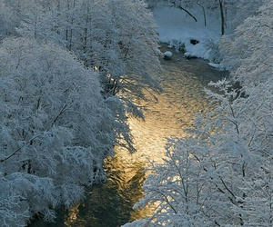 snow, winter, and river image