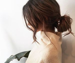 brunette, bun, and curly hair image