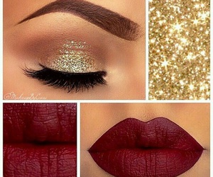 makeup, red, and lips image