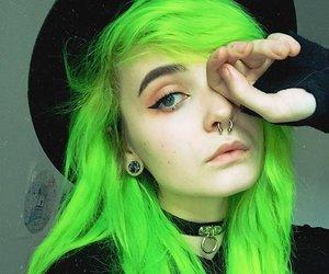 green, hair, and green hair image