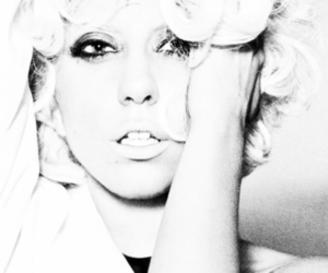 black and white and Lady gaga image