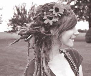 girl, dreads, and flowers image