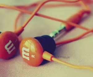 earphones, music, and m&m image
