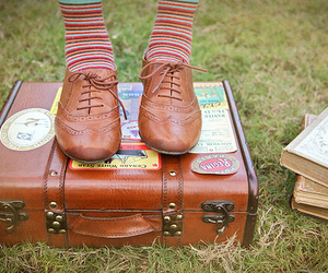 shoes, suitcase, and book image