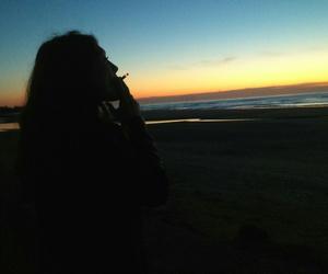 grunge, smoke, and sunset image