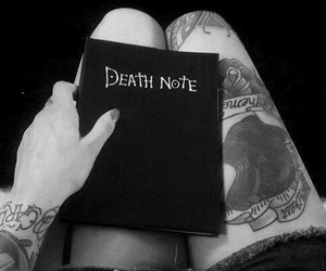 death note, tattoo, and black and white image