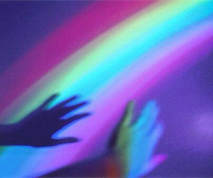 rainbow, grunge, and hand image