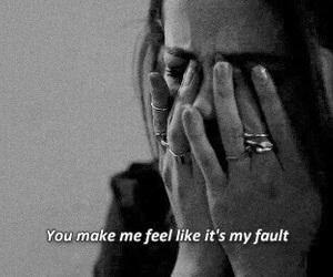 sad, selena gomez, and fault image
