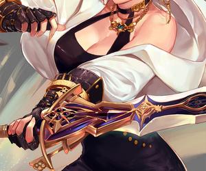 beautiful, katana, and white+hair image