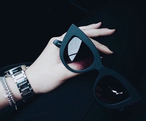 black, sunglasses, and style image
