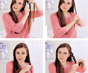 hair, tutorial, and pink image