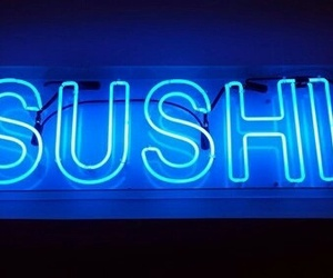 sushi, blue, and neon image
