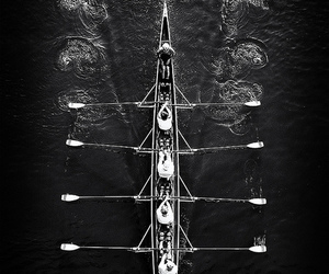 b&w and rowing image