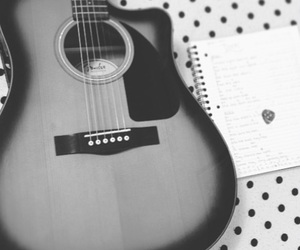 acoustic, acoustic guitar, and black and white image
