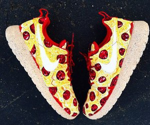 pizza, nike, and shoes image