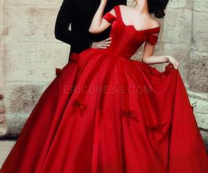 dress, red, and couple image