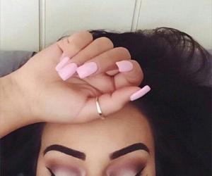 eyebrows, pink, and eyelashes image