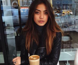 girl, hair, and coffee image