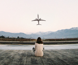 plane, travel, and airplane image