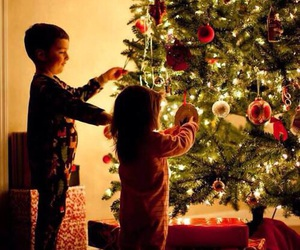 christmas, christmas tree, and kids image