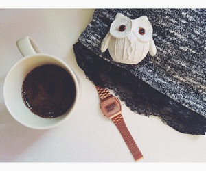 black, casio, and coffee image