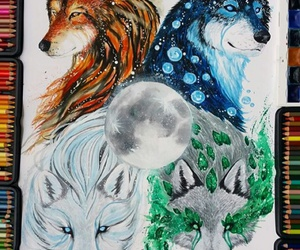 art, moon, and wolf image