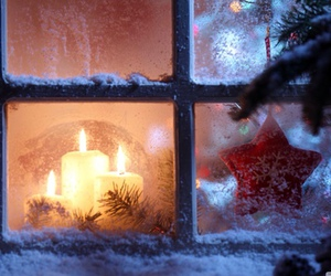 christmas, snow, and candle image