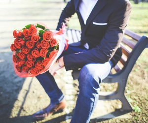 love, flowers, and man image