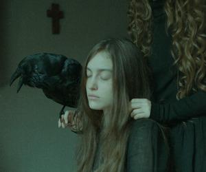 girl, dark, and crow image