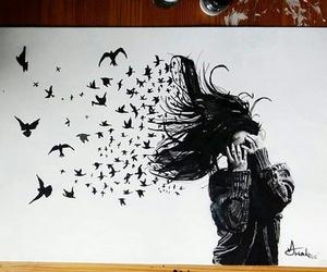 art, drawing, and bird image