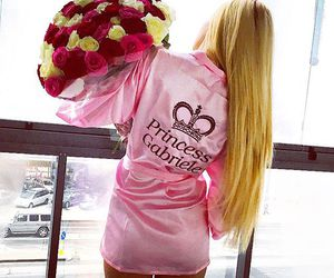 bouquet, girl, and pink image